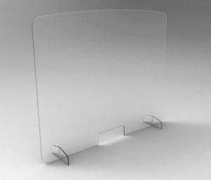 Ecran Plexiglas de Protection sur Pieds Plexi avec Découpe et Bords Arrondis
