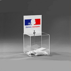 Urne transparente 20x20x20cm avec porte-affiche