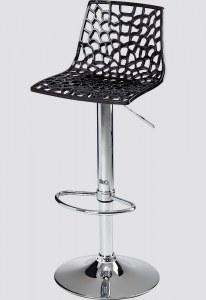 Tabouret réglable avec assise polycarbonate noir ou blanc