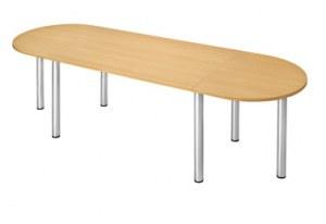 Table de Réunion Ovale Pieds Chromés 280 x 80