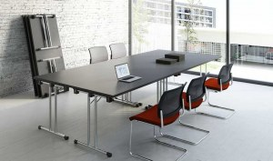 Ensemble de 4 Tables Pliantes Doly Noir et Chrome