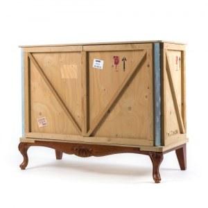 Rangement bois 2 portes avec base